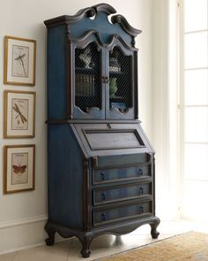 """Love the blue and brown/gray mix. And the subtle stripes on the drawers. Wonderful Bright Sky"""" Secretary - Neiman Marcus"""