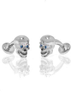 Silvertone Skull Cufflinks