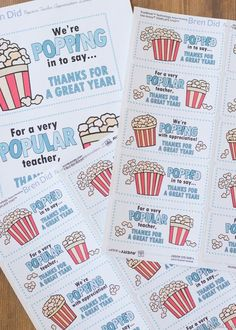 The end of school year is approaching! Tell your teacher thank you with this easy teacher appreciation gift and free printable gift tag featuring a fun popcorn puns: for a very popular teacher, we're popping with appreciation, and popped in to say thanks. Popcorn Theme, Popcorn Gift, Popcorn Puns, Teacher Thank You, Your Teacher, Teacher Gifts, Teacher Presents, Teacher Treats, Employee Appreciation Gifts