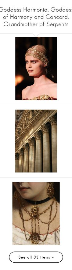 """""""Goddess Harmonia, Goddess of Harmony and Concord, Grandmother of Serpents"""" by hey-there-deliah ❤ liked on Polyvore featuring photos, pic, pictures, backgrounds, pics, fillers, wallpaper, art, necklaces and paintings"""