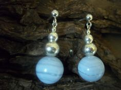 Large Blue Lace Agate and sterling silver earrings by Sterling Silver Earrings, Pearl Earrings, Drop Earrings, Handmade Jewellery, Unique Jewelry, Handmade Gifts, Blue Lace Agate, Dawn, Shops