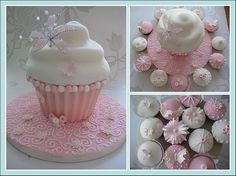 vintage birthday giant cupcake and cupcakes by Little miss fairy cake, via Flickr