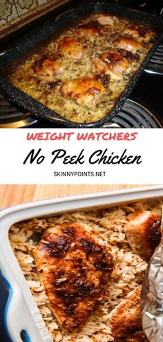 Ingredients: 1 box Uncle Ben's Long Grain Wild Rice (original recipe) 1 can cream of mushroom soup 1 can cream of celery soup 1 can water (You can add another can of water for moister rice.) Chicken breasts or tenders #weightwatchers #weight_watchers #Chicken #No Peek #recipes #smartpoints