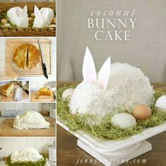 Coconut Bunny Cake Tutorial easter easter crafts easter ideas easter recipes easter recipe easter deserts food tutorials easter desert