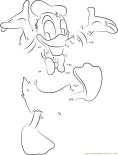 Cheerful Donald Duck dot to dot printable worksheet - Connect The Dots
