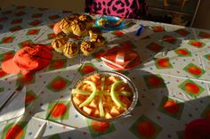 I'm no Martha Stewart.  This is easy and it was perfect for our 2 year old and a small family party at home.  Used melon in a pie plate to create a basketball.  Added black frosting to pumpkin muffins for a healthier alternative to cupcakes. A basketball hat and mini basketballs rounded out the tiered muffin centerpiece. (Don't mind big sister's rainbow leopard chair! LOL)