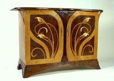 Custom Made Art Nouveau Cherry And Walnut Sideboard