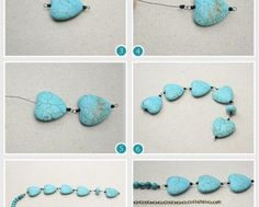 How to make a necklace - DIY pearl necklace . Turquoise Beads, Turquoise Bracelet, Jewelry Sites, Diy Necklace, Pearl Necklace, Beaded Jewelry, Jewelery, Bronze, Stud Earrings