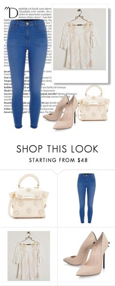 """Denim days"" by eledonoghue ❤ liked on Polyvore featuring Balmain, ZAC Zac Posen, River Island, BKE Boutique and Casadei"