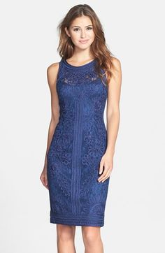Free shipping and returns on Sue Wong Soutache Sleeveless Sheath Dress at Nordstrom.com. A tonal lace overlay puts a fresh spin on a classic sheath bedecked in a layer of swirling ribbon.