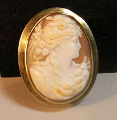 Oval shell cameo & 14k yellow gold chatelaine pin