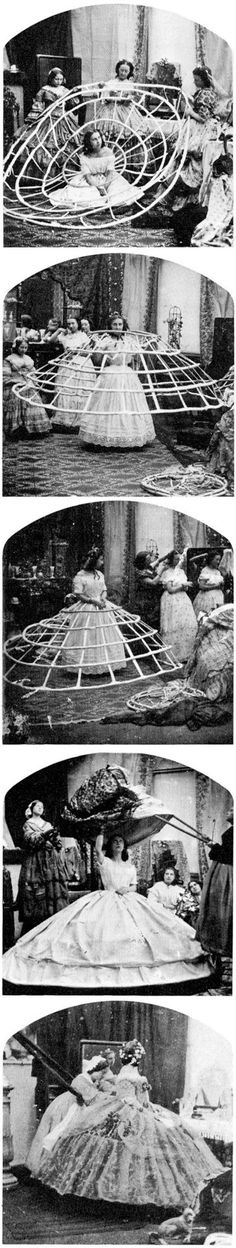 A caricature sequence of posed joke photographs showing five stages of putting on a crinoline, ca. 1860.