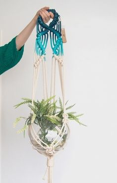 Blue macrame plant hanger, dyed plant hanger, pot plant holder, plant hanging basket, rope pot planter, indoor planter, terrarium holder