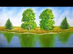 How to draw landscape with trees and reflection on water - Time Lapse - Pastel Painting - YouTube
