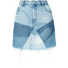 Prps patchwork denim skirt (€235) ❤ liked on Polyvore featuring skirts, bottoms, blue, blue denim skirt, denim skirt, patchwork denim skirt, prps and knee length denim skirt