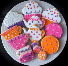 Neon and Bright Colors- Tea Party Decorated Cookies- Teapots, cupcakes, teacups and flowers