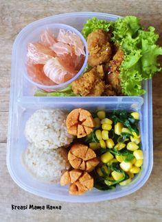 Healthy Lunch Box - Rice, Sausage, Spinach, Corn, Chicken Karage, grapefruit