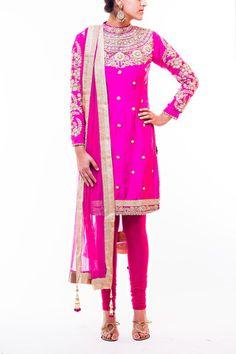Magenta Pink High Neck Pajami Suit