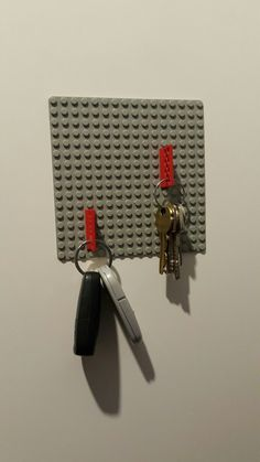 briliant LEGO key holder. easy and simple to do. sticked with silicone. no holes, no tools, only 5 min. keys allways in right place.