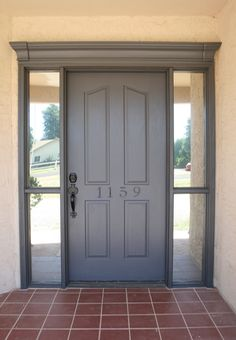 Front door frame molding curb appeal Ideas for 2019 - Home & DIY Front Door Trims, Front Door Makeover, House Exterior, Door Makeover, Grey Front Doors, Exterior Doors, Exterior Trim, Exterior Paint Colors, Doors