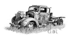 Better Days is a pen and ink drawing I did of an old pickup truck I came across some years ago in an Oklahoma junk yard. Its done in a pen and ink