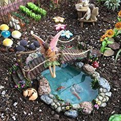 Amazon.com : Joykick Fairy Garden Fish Pond Kit - Miniature Hand Painted Figurine Statues with Accessories - Set of 4pcs for Your House or Lawn Decor : Garden & Outdoor