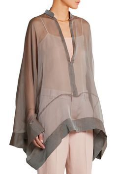 Mushroom silk-chiffon Slips on 100% silk Dry clean Designer color: Sand