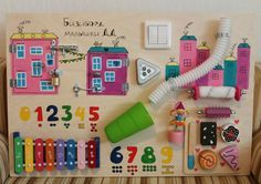 """Busy Board """"Baby girl"""", Activity Board, Sensory Board, Montessori educational Toy, Wooden Toy, Fine motor skills board for toddlers & babies"""
