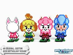 Animal Crossing Characters  - Custom Perler Bead Sprite Figures with Leaf Stands by Geek Mythology Crafts