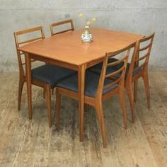 Mid Century McIntosh Teak Extending Table & 4 Chairs - Mustard Vintage