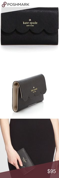 """Kate Spade Lily Avenue Wallet Black, tri-fold wallet. Scalloped detail. Cross-hatch leather. Approx. 6""""x4""""x1"""". 8 card slots. Interior billfold and zipper coin compartment. Exterior pocket. Snap closure. Used, no signs of wear. Like new. Offers welcome 💕  Instagram: @shmemilyy17 Snapchat 👻: shmemilyy17 Facebook: www.facebook.com/shmemilyy17 Email: shmemboutique@gmail.com kate spade Bags Wallets"""