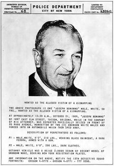 Wanted poster of Bonanno Family Patriarch Joseph 'Joe Bananas' Bonanno c.1964