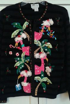 tacky flamingo ugly christmas sweater the best