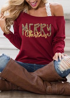 Blessed Heart Off Shoulder Blouse without Strap - Burgundy - Bellelily Off Shoulder Bluse, Off Shoulder Tops, Shoulder Strap, Blessed, Thanksgiving Outfit, Fall Shirts, Tee Shirts, Red Blouses, 1 Piece