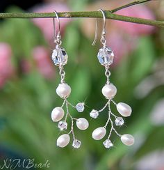 Crystal and Freshwater Pearl Twig Earrings by NMBeadsJewelry