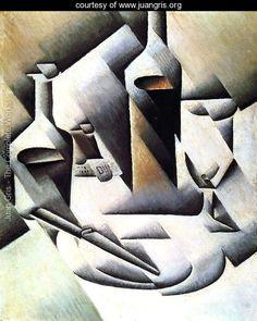 """""""Botellas y cuchillos""""(1912) Juan Gris. Género: Bodegón."""
