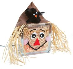 Nicole™ Crafts Scarecrow Block #glassblock #craft #fall #scarecrow