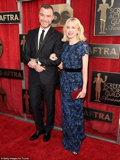 A royal look! Naomi Watts wore royal blue as she arrived to the Screen Actors Guild awards with partner Liev Schreiber