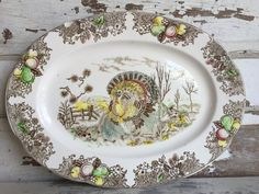 Vintage Platter Turkey Transferware Medium Size Brown Thanksgiving Tray by TheClassicButterfly on Etsy