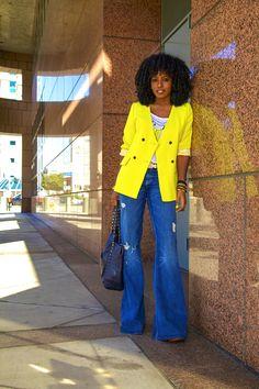 Neon Blazer + Tank + Bell Bottom Jeans | Style Pantry
