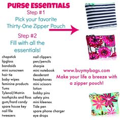 Zipper Pouch Make your life a breeze with these must have Purse Essentials! /jenfreedThirty-One Zipper Pouch Make your life a breeze with these must have Purse Essentials! Purse Necessities, Purse Essentials, Travel Essentials For Women, Thirty One Purses, Thirty One Gifts, 31 Gifts, What's In My Purse, What In My Bag, Purse Organization