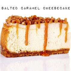 brown sugar and graham crust is topped with creamy cheesecake, toffee bits and homemade salted caramel sauce. #BiteMeMore #cheesecake #salted #caramel