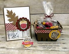 Jan Girl: Stampin' Up Acorny Thank You Card, Berry Basket and Treat