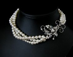 ... perhaps a mix of different chains instead of pearls will allow focus on the wire and gem work with pearl accents...