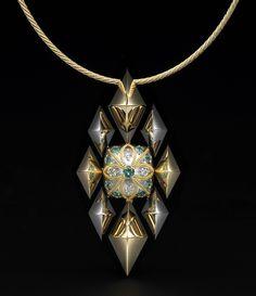 Compass Star   Palladium and 18K Gold Center - Palladium w/ 22K Gold Inlay  Diamonds, Paraiba Tourmalines Necklace