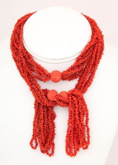 A Buttery Hand Cut Natural Coral Lariat | From a unique collection of vintage multi-strand necklaces at http://www.1stdibs.com/jewelry/necklaces/multi-strand-necklaces/