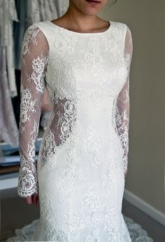 Mermaid Long Sleeves White Lace Wedding Dress - Thumbnail 2