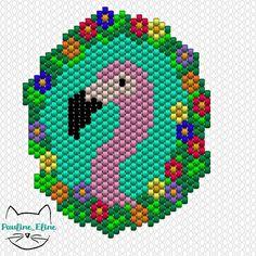 Flamingo power!  #jenfiledesperlesetjassume #miyukibeads #miyuki #perleaddict #diagrammeperles #beadpattern #flamingo #flamantrose #brickstitch #motifpauline_eline