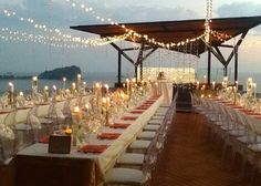 Reception roof top- MORE candles lower as well as high....