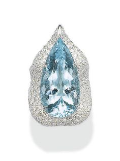 AN AQUAMARINE AND DIAMOND RING, BY MARGHERITA BURGENER   Set with a modified pear-shaped aquamarine, weighing 18.62 carats, to the pavé-set diamond undulating surround, mounted in 18k white gold